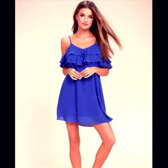 eee078761ab5 LULU S ROYAL BLUE OFF-THE-SHOULDER DRESS - NEW!